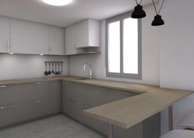 Proyecto de decoración de cocina y baño para un piso en Melide